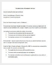 Formal Letter Of Complaint Services Template1