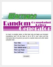 Example Complaint letter Generator Free Download1