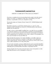 Environment Complaint Form Template 1