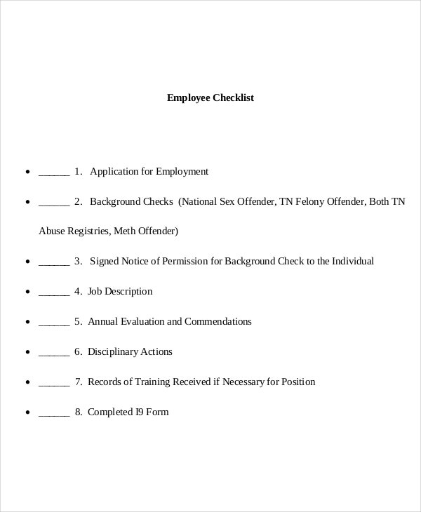 employee file checklist template