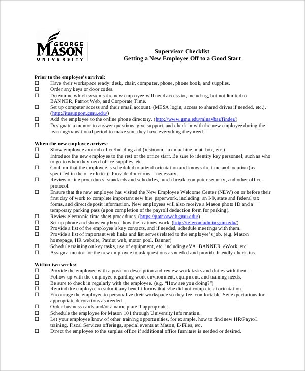 new employee supervisor checklist template