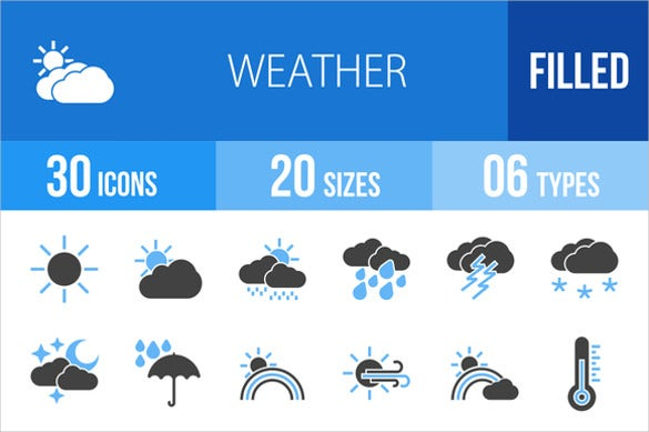 30 weather blue black icon sets download