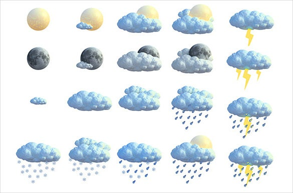 3d render of weather icons download