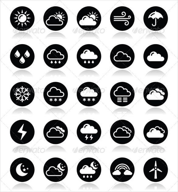 black weather icon set download