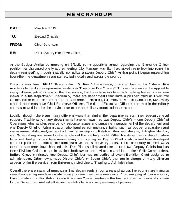 fire department executive officer memo pdf template download