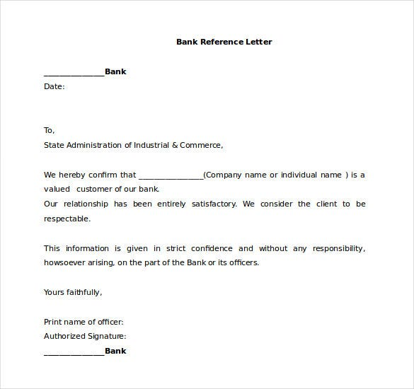 17 Word Reference Letters Free Download – Bank Reference Letter Sample