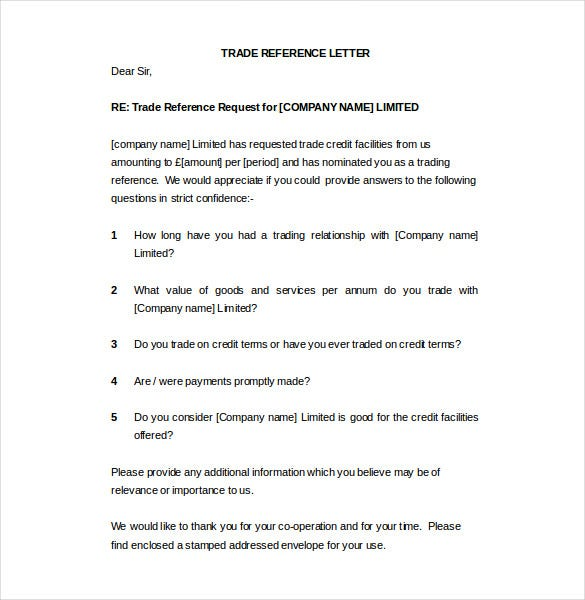 Sample Trade Reference Letter Template