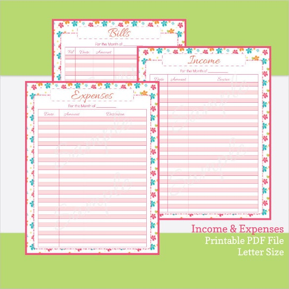 printable expense tracker and income tracker template download