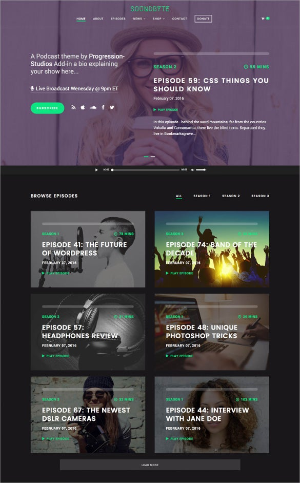 Podcast Wordpress Theme Geccetackletartsco - Podcast website template