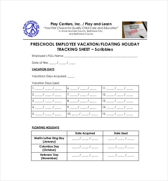 vacation tracking template 9 free word excel pdf documents