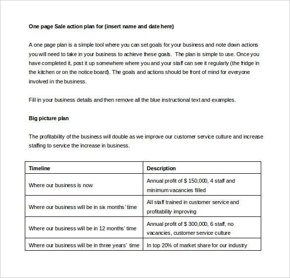One Page Sales Action Plan Template Word Format Download