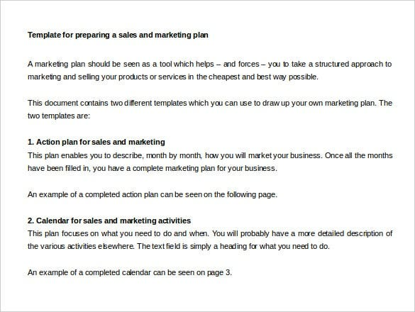 preparing a sales and marketing plan template word doc min