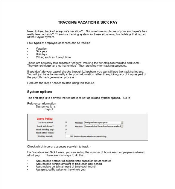Vacation Tracking Templates  Free Sample Example Format
