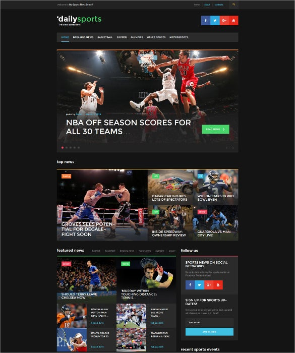 sport news blogging wordpress theme