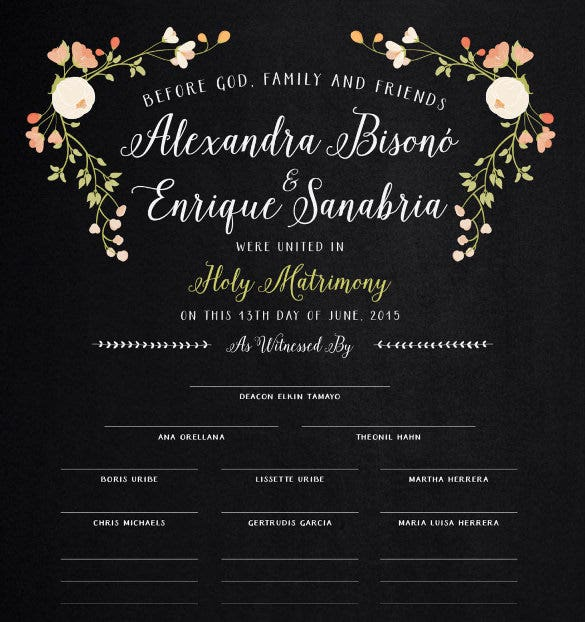 colorful background wedding certifcate template for download