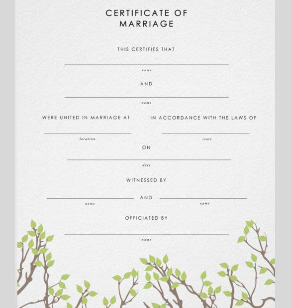 simply designed wedding certificate template for download