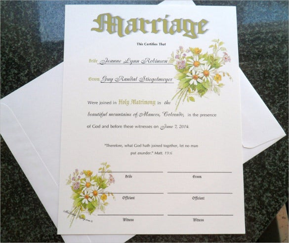 water colors wedding certifcate template for download