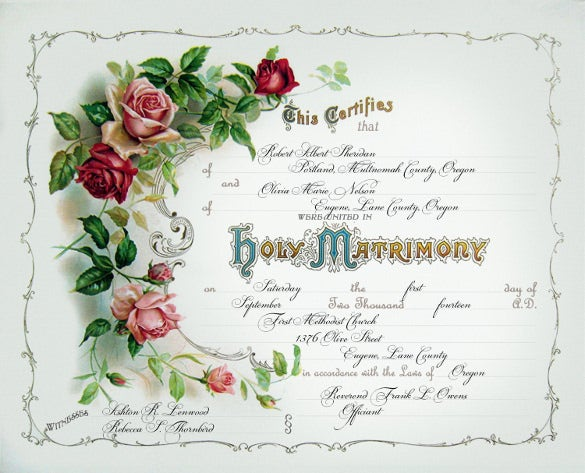 floral wedding certificate template for download