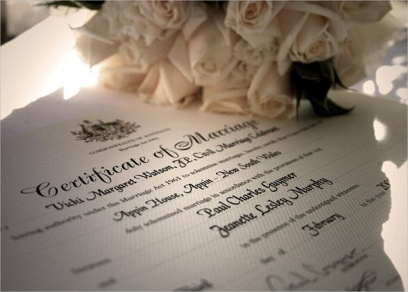 wedding certificate template for free download