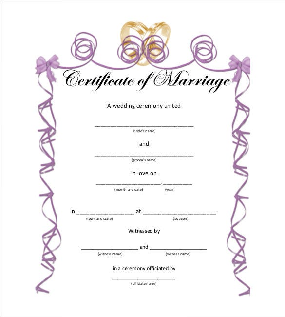 30 wedding certificate templates � free sample example