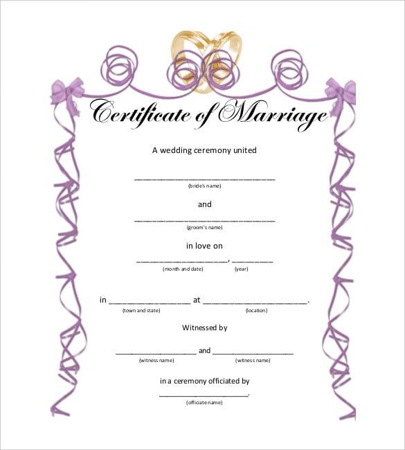Free Wedding Certificate Template