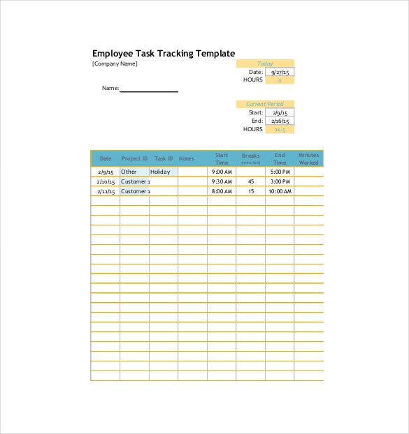 Employee Task Tracking Template Free PDF Format Download  Employee Task List