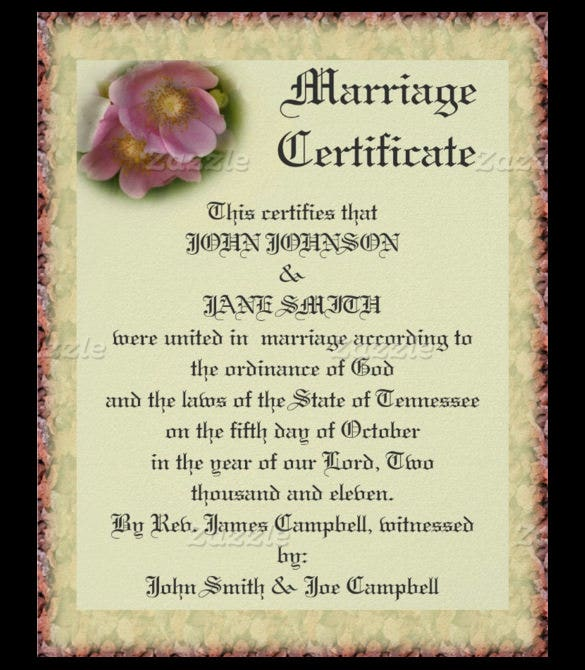 wedding certificate template with roses1