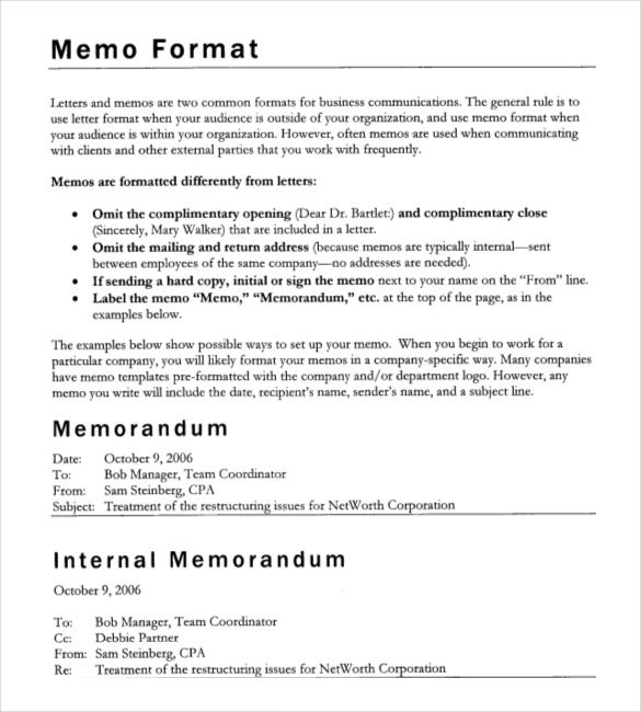 Sample Company Memo Simple Business Memo Template With Table