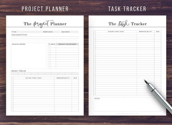 project task tracker planner template download