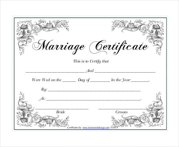 30 wedding certificate templates free sample example for Certificate templates for word free downloads