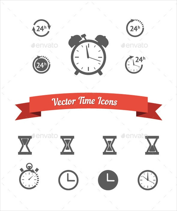 isolated clock icons set