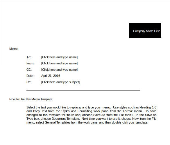 Company Memo Template   Free Word Pdf Documents Download
