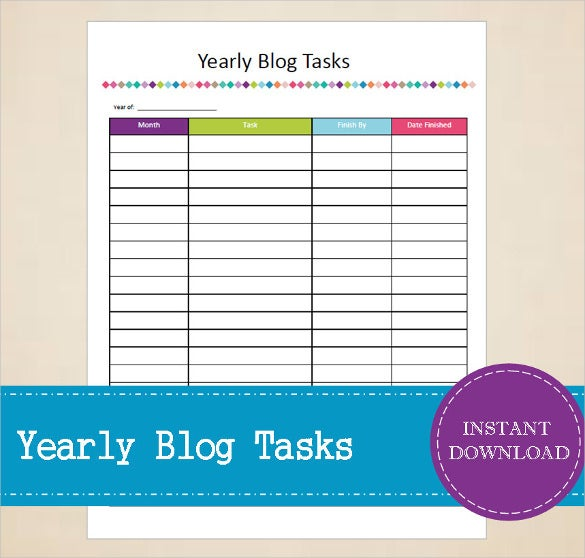 yearly blog tasks tracker template download