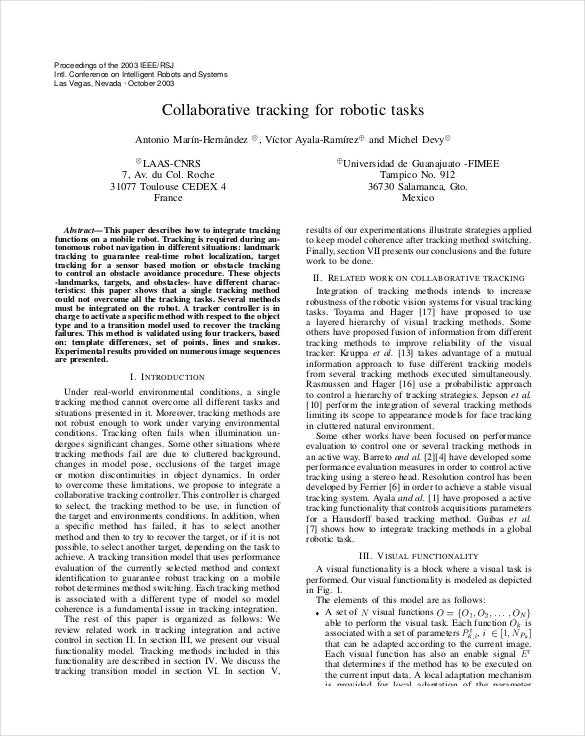 collaborative tracking for robotic tasks pdf format download