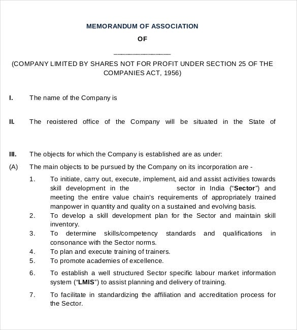 company association memorandum pdf template1