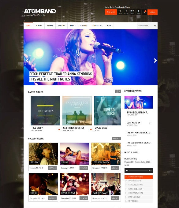 responsive dj events music wordpress theme