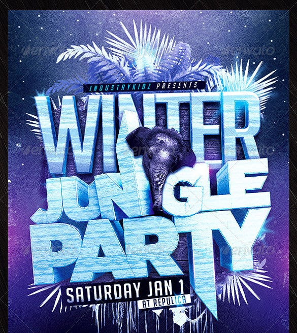 winter jungle party flyer template