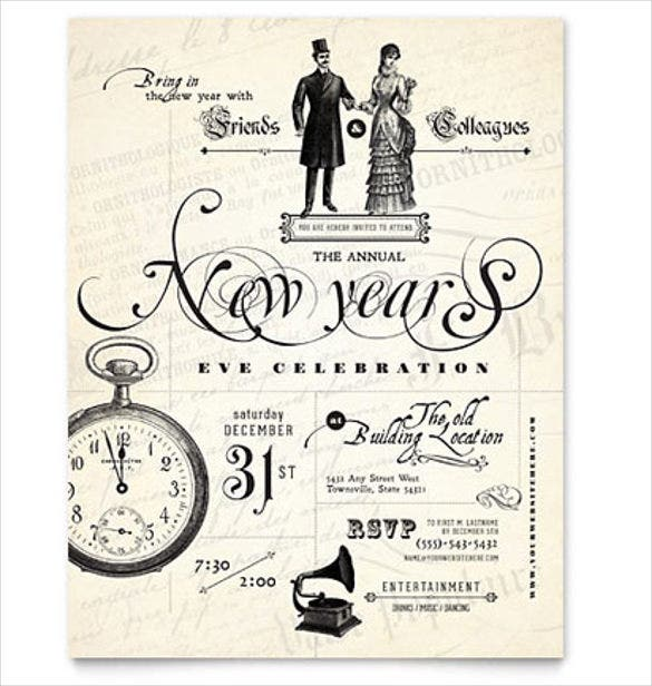 vintage new years party flyer template