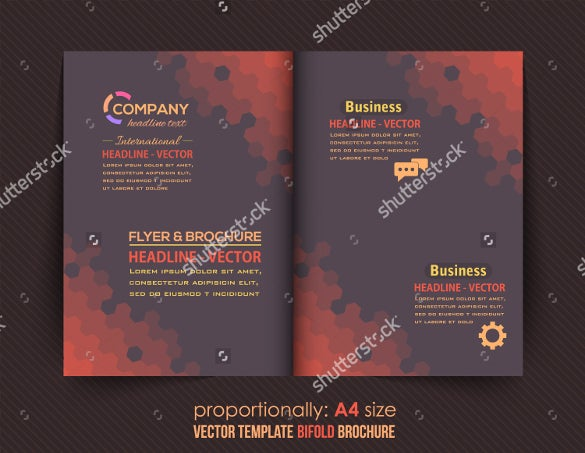 dark style business bi fold brochure design