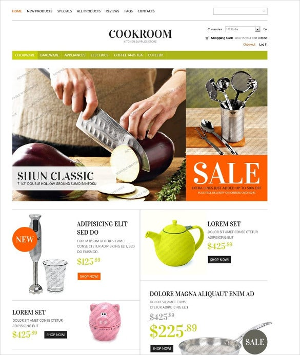 free cooking shop zencart template
