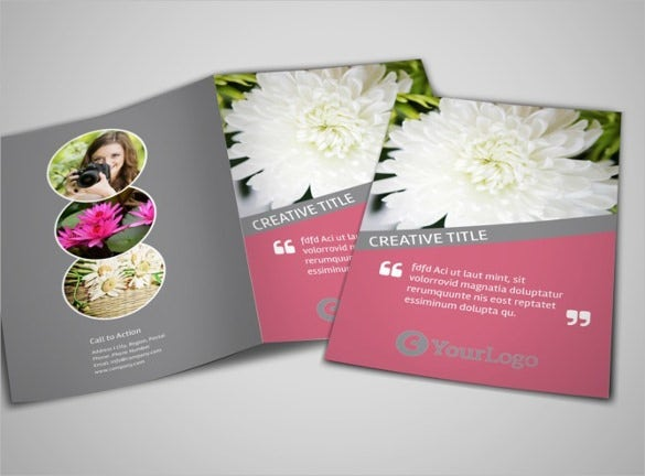 floral photography bi fold brochure template