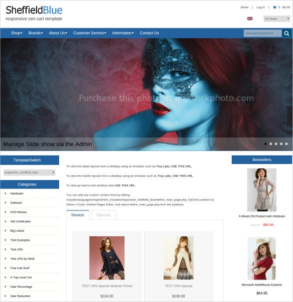free responsive shoping zencart website theme