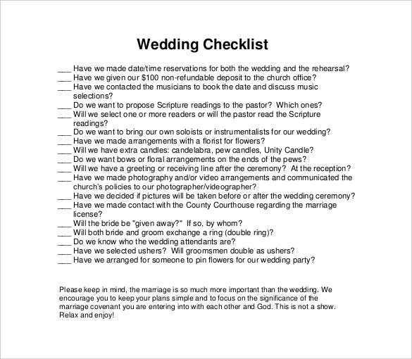 11+ Wedding Checklist Templates – Free Sample, Example, Format