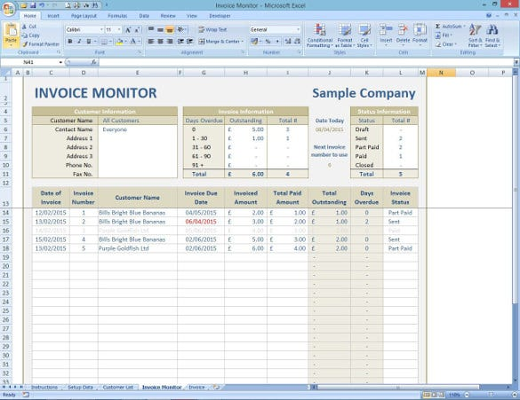 invoice monitor tracker template download