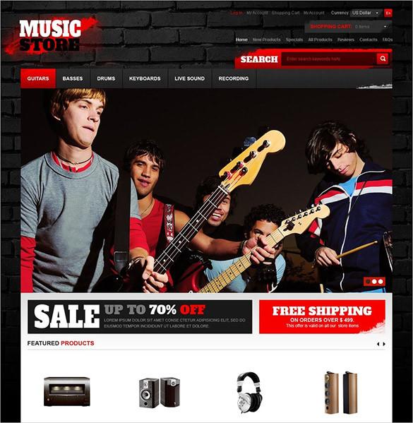 premium music store zencart template 139