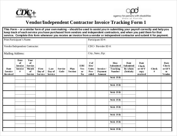 Vendor Independent Contractor Invoice Tracking Form Template Download  Sample Independent Contractor Invoice
