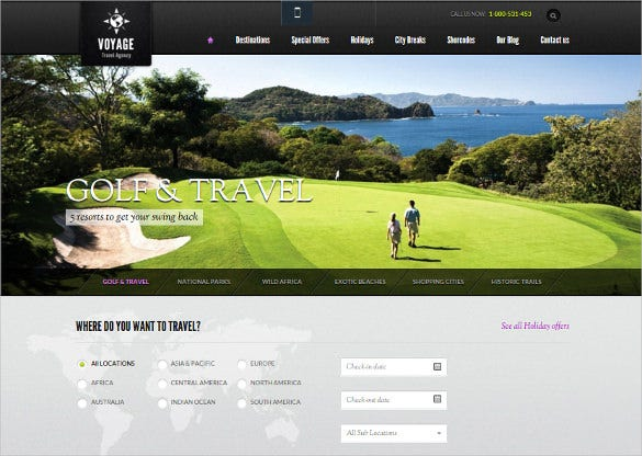 golf travel wordpress theme