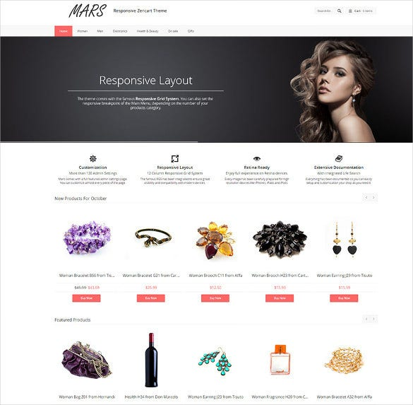 clean fluid and responsive zencart theme