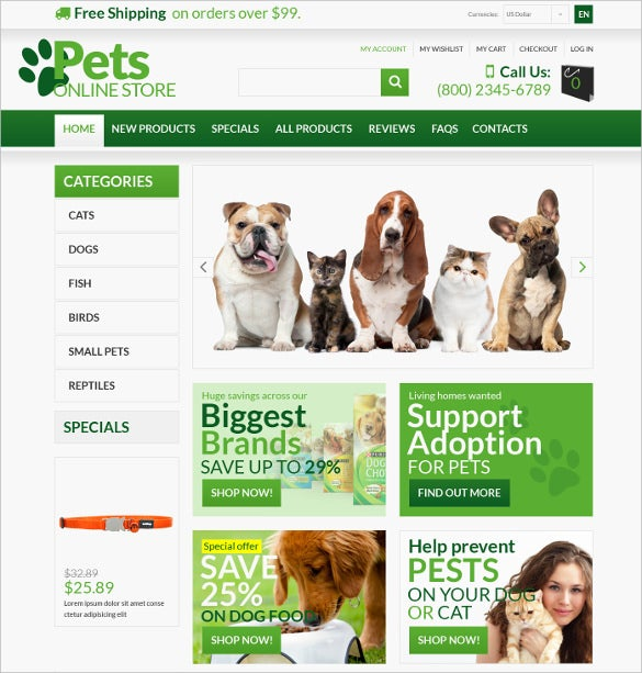 animals pets zencart template 1401