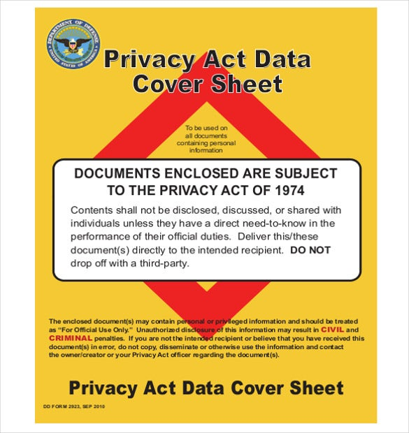 graphic designed privacy act cover sheet